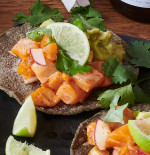 Salmon Crudo & Avocado Cream Tostadas